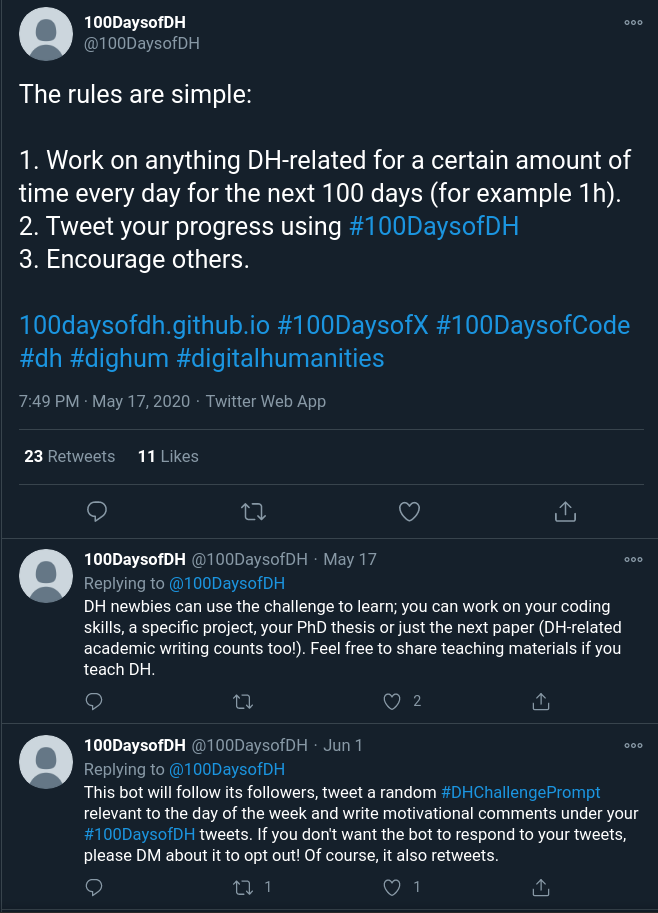 The picture shows a tweet by 100DaysofDH