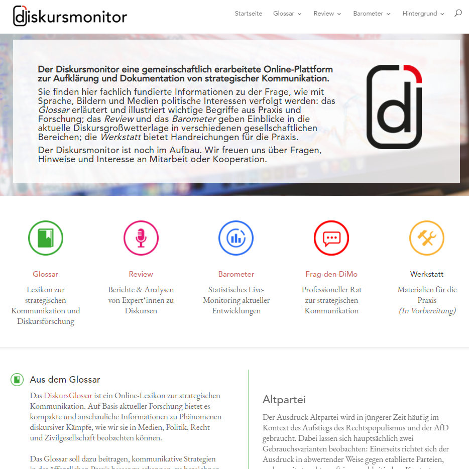 Screenshot Diskursmonitor