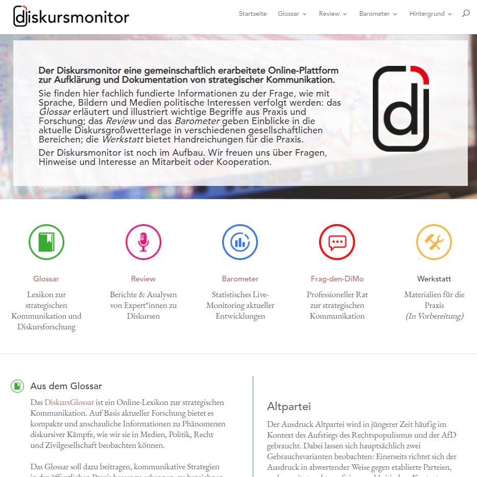 Screenshot Diskursmonitor
