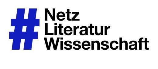 Logo der Konferenz zur #Netzliteraturiwssenschaft. Man sieht ein blaues Hashtag-Zeichen links, daneben auf der rechten Seite in schwarzer, schlichter Schrift die Worte Netz, Literatur und Wissenschaft untereinander geschrieben