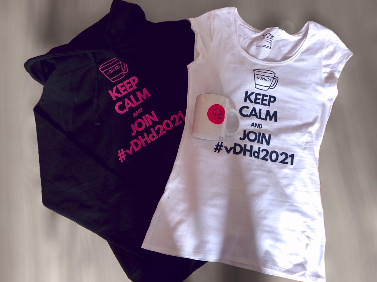 #vDHd2021 Hoodie, T-Shirt und Tasse #vDHd2021Merch